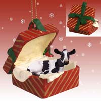 Holstein Cow Gift Box Red Ornament