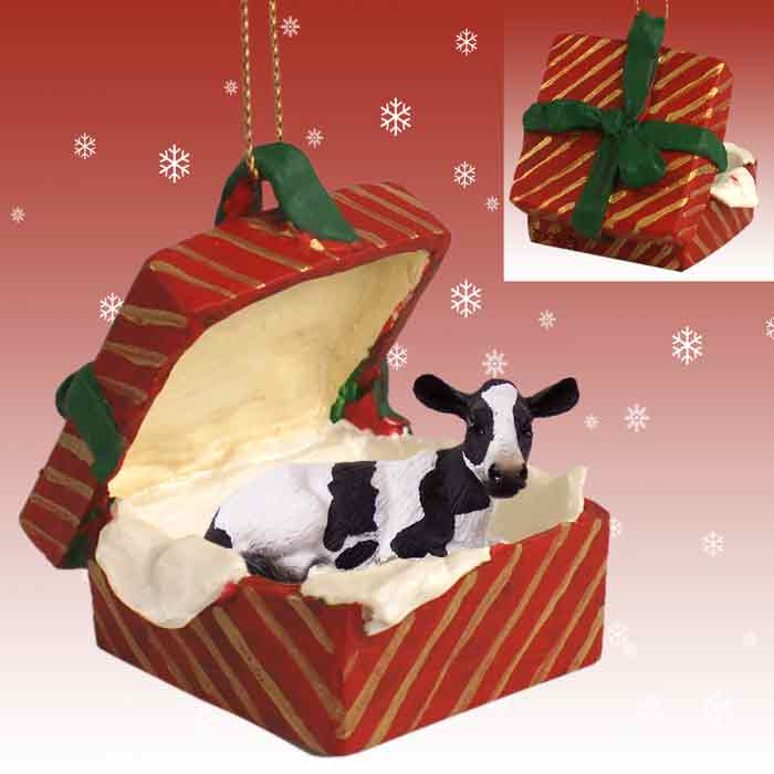 - Holstein Cow Gift Box Red Ornament