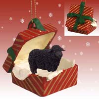 Sheep Black Gift Box Red Ornament