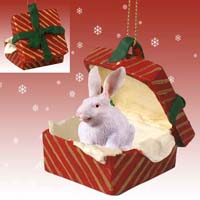 Rabbit White Gift Box Red Ornament