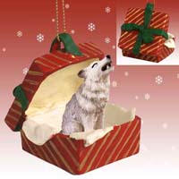 Wolf Gray Gift Box Red Ornament