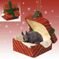 Armadillo Gift Box Red Ornament