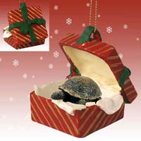 Turtle Gift Box Red Ornament