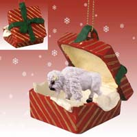 Buffalo White Gift Box Red Ornament