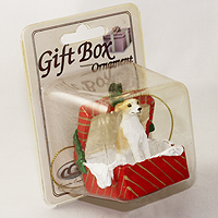 Ornament Gift Box Red Dogs