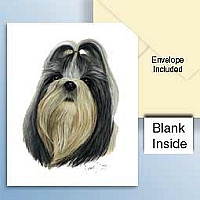 Shih Tzu Black & White Greeting Cards Set of 6 *Enevelope NOT included!*