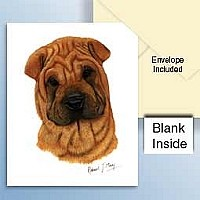 Shar Pei Brown Greeting Cards Set of 6 *Enevelope NOT included!*
