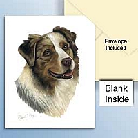 Australian Shepherd Blue Greeting Cards Set of 6 *Enevelope NOT included!*