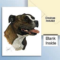 Staffordshire Bull Terrier Brindle Greeting Cards Set of 6 *Enevelope NOT included!*
