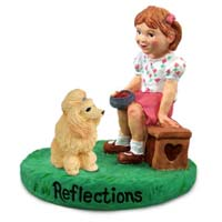 Poodle Apricot Reflections w/Girl Figurine
