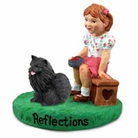 Pomeranian Black Reflections w/Girl Figurine