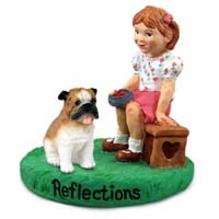Bulldog Reflections w/Girl Figurine
