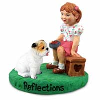 Bulldog White Reflections w/Girl Figurine