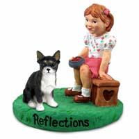 Chihuahua Black & White Reflections w/Girl Figurine