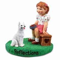 German Shepherd White Reflections w/Girl Figurine