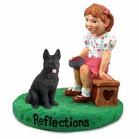 German Shepherd Black Reflections w/Girl Figurine