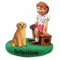 Golden Retriever Reflections w/Girl Figurine