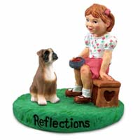 Boxer w/Uncropped Ears Reflections w/Girl Figurine