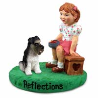 Schnauzer Gray w/Uncropped Ears Reflections w/Girl Figurine