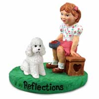 Poodle White w/Sport Cut Reflections w/Girl Figurine