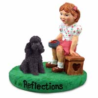 Poodle Black w/Sport Cut Reflections w/Girl Figurine