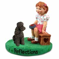 Poodle Chocolate w/Sport Cut Reflections w/Girl Figurine