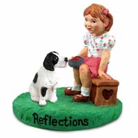 Pointer Black & White Reflections w/Girl Figurine