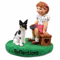 Rat Terrier Reflections w/Girl Figurine