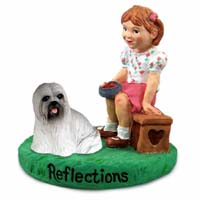 Lhasa Apso Gray Reflections w/Girl Figurine
