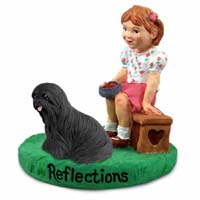 Lhasa Apso Black Reflections w/Girl Figurine
