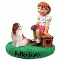 Japanese Chin Red & White Reflections w/Girl Figurine