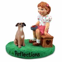 Italian Greyhound Reflections w/Girl Figurine