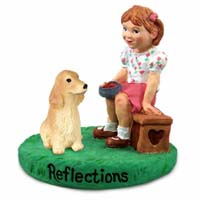 Cocker Spaniel English Blonde Reflections w/Girl Figurine