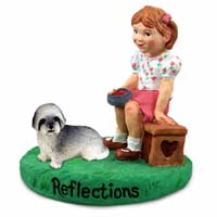 Lhasa Apso Gray w/Sport Cut Reflections w/Girl Figurine
