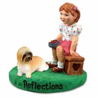 Lhasa Apso Brown w/Sport Cut Reflections w/Girl Figurine