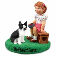 Boston Terrier Reflections w/Girl Figurine