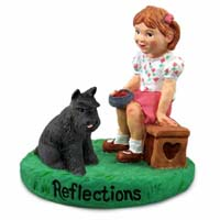Schnauzer Black Reflections w/Girl Figurine