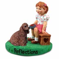 Cocker Spaniel Brown Reflections w/Girl Figurine