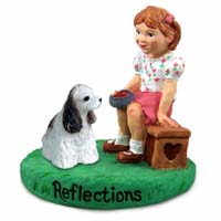 Cocker Spaniel Brown & White Reflections w/Girl Figurine