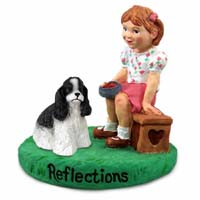 Cocker Spaniel Black & White Reflections w/Girl Figurine