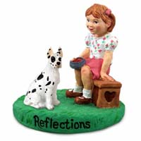 Great Dane Harlequin Reflections w/Girl Figurine
