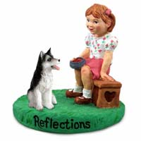 Husky Black & White w/Brown Eyes Reflections w/Girl Figurine