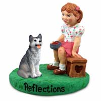 Husky Gray & White w/Brown Eyes Reflections w/Girl Figurine