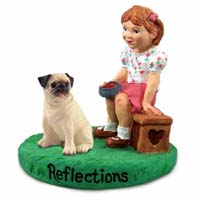 Pug Fawn Reflections w/Girl Figurine