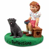 Pug Black Reflections w/Girl Figurine