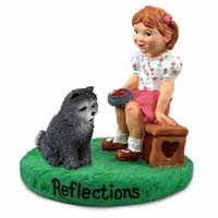Chow Blue Reflections w/Girl Figurine