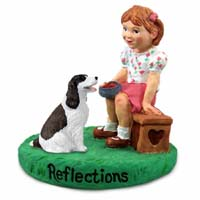 Springer Spaniel Liver & White Reflections w/Girl Figurine