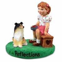 Collie Tricolor Reflections w/Girl Figurine