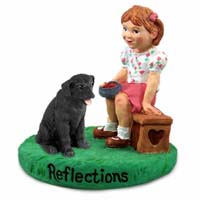 Labrador Retriever Black Reflections w/Girl Figurine
