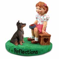 Doberman Pinscher Red w/Cropped Ears Reflections w/Girl Figurine